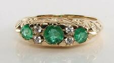 GRAND 9CT GOLD COLOMBIAN EMERALD DIAMOND VICTORIAN INSP RING FREE RESIZE