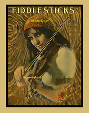 FIDDLE STICKS! Gypsy with violin 8x10 vintage sheet music cover Art Deco print