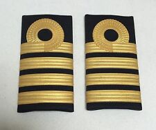 Embossed Rank Slide, RN, Royal Navy Captain, Army, Military, Gold, Badge, Pair
