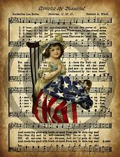 Primitive America the Beautiful Betsy Ross Song Lyrics Vintage Print 8x10