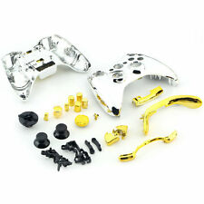 Chrome Silver modded Full Shell Gold Buttons for Xbox 360 Wireless Controller DE