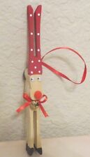 Handcrafted Clothespin Reindeer Ornaments Large 6-1/2""
