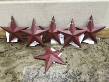 "Burgundy BLACK BARN STARS 3 3/8"" SET OF 6 PRIMITIVE DECOR COUNTRY ""FREE SHIPPING"