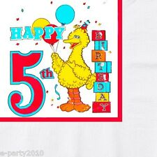 SESAME STREET 5th BIRTHDAY LARGE NAPKINS (16) ~ VTG Fifth Party Supplies Lunch