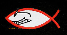 JESUS FISH GLASSES CROSS CHRISTIAN Iron On Hat Patch HEART GOD ANGEL WOW