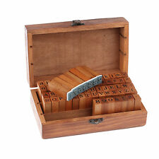 70pcs Alphabet Letter Number Wood Box Wooden Case Rubber Stamp Kit Vintage Craft