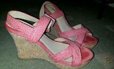 Cork wedge sandals pink never worn