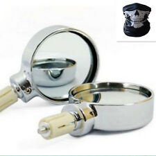 """Chrome Motorcycle Round 7/8"""" Handle Bar End Rearview Side Mirrors Universal"""