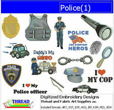 Embroidery Design CD - Police(1) - 15 Designs - 9 Formats - Threadart