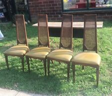 4 VTG MID CENTURY HIGH CANE BACK Padded DINING Wood CHAIR 1271 McDonald Brooklyn