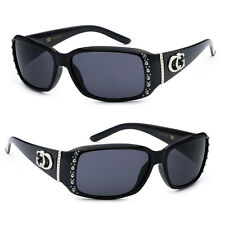 CG Women Rhinestones Studded Narrow Rectangular Sunglasses Black Lens CG04