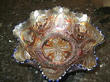 FENTON CARNIVAL GLASS FOOTED BOWL DRAGON & LOTUS RARE LOVELY