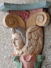 ANTIQUE VICTORIAN CARVED WOOD CHERUB ARCHITECTURAL WALL CLOCK SHELF SHABBY CHIC