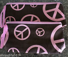 NEW!  2-PC PEACE SIGN MAKE-UP CASE - BROWN AND PINK