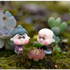 Mini Figurines Miniature Old Granny Grandpa Resin Crafts for Garden Decoration