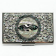 Tendril plants metal business card case decorated with mother of pearl