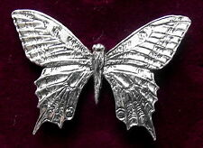 Detailed Pewter Summer Butterfly Brooch Pin Signed