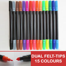 15 FELT DUAL TIP PENS- Colours Fine Sketch Markers Drawing Art Pack Flair Ink