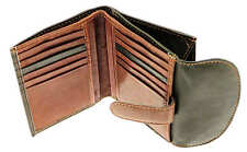 Black & Brown Leather Credit Card Holder / Wallet / Purse With Coin Storage