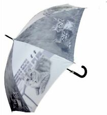 Cat Umbrella - Long Umbrella Automatic Opening Tabby Cats (1) Grey Colour
