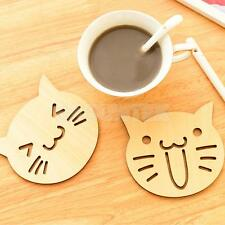 Wood Coffee Placemat Happy Cat Coaster Cup Mug Glass Beverage Holder Pad Mat