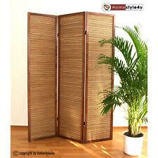 3 fach Holz Paravent Raumteiler spanische Wand braun Bambus Sichtschutz
