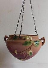 Vintage Roseville Pottery Pink Snowberry Hanging Planter 1946