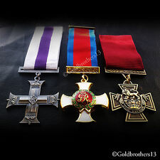 3x Set Military Cross Distinguished Service Order & Victoria Cross Medals Repro