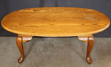 Vintage SOLID Oak Wood Wooden Side Coffee Accent Table Oval Top Cabriole Legs