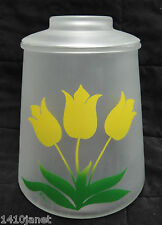 Vintage Pokee Frosted Glass Cookie Jar with Yellow Tulips Excellent