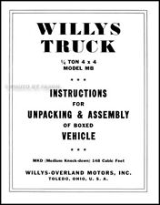 Willys MB Military Jeep Assembly Instructions 1941 1942 1943 1944 1945 WWII