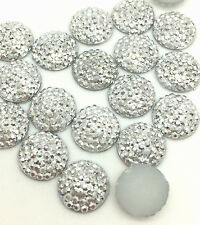 NEW 30PCS 10mm Resin Flash Round Flatback Scrapbooking for phone/craft Silver#3