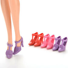 10 Pairs Dolls Shoes 1.8cm High Heel Shoes For Barbie Outfit Toys Random Color