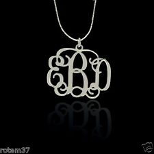 """Monogram Necklace Chain 925 Sterling Silver Up To 3 Initial Jewelry Name 0.7"""""""