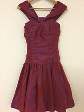 TRUE VINTAGE 80's LAURA ASHLEY PINK SILK RUCHED CORSET PROM DRESS TONIC S 6