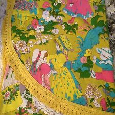Vintage 70s Girls Bedspread Sears Perma Prest Mod Holly Flower Child Kids Twin