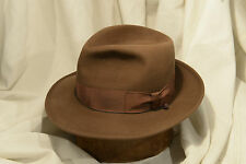 1940's Classic May Company 'Gold Label' Brown Fedora Size 7 w/Controlled Brim