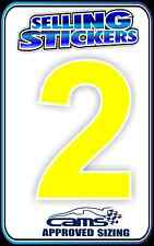 CAR NUMBER STICKER CAMS APPROVED SIZING DRIFT RALLY RACE WINDOW YELLOW CHEAP