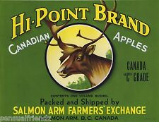 Hi Point Apples Fruit Crate Label Art print Salmon Arms B.C. Canada
