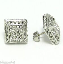 Square 3d Pyramid Silver Tone Iced-Out Micro Pave Hip Hop Cz Cube Stud Earrings