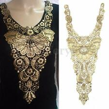 Floral Embroidered Metallic Gold Lace Venise Venice Collar Neckline Applique