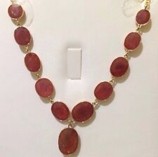 14k Solid Yellow Gold Dangle Necklace 72CT Natural Ruby Oval Cut 17 Inches