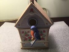 THE BLUE BIRD  - BIRD HOUSE MUSIC BOX LENOX 1993 Plays Summer Vintage Cute