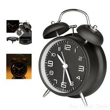 Classic Analog Qtz Alarm Clock Vintage Look Twin Bell Silent Sweep Night Light