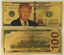 President Donald Trump .999 24k Gold Plated US $100 Dollar Bill 45th President