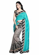 Indian Bollywood Saree Bhagalpuri Art silk Partywear Women Ethnic Saree GREY
