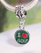I Heart Golf Love Golfer Gift Green Red Dangle Bead for European Charm Bracelets