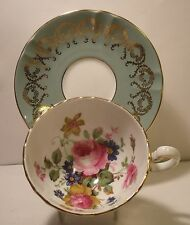 Aynsley Turquoise Floral Cabinet Cup And Saucer