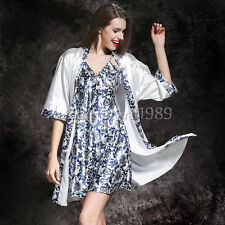 NEW Sexy Womens Silk Satin Pajamas Set Sleepwear&Robes Nightdress Nightgown P165