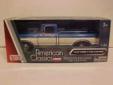 1979 Ford F-150 Custom Pickup Die-cast Truck 1:24 Motormax 8 inch Blue and Cream